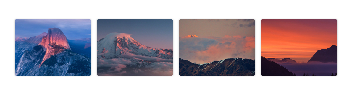 Sunsets on snowy mountains