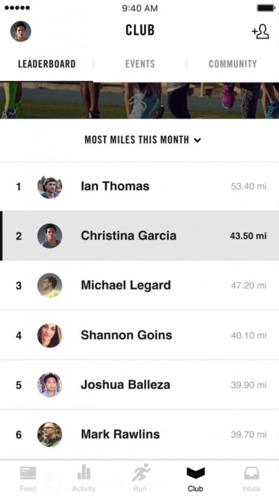 Nike run - leaderboards